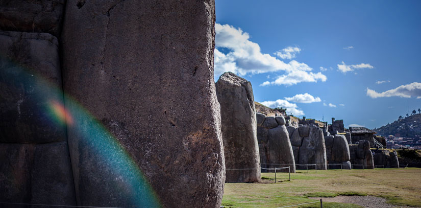 Sunny day at the Sacsayhuaman ruins, a series of megalithic stones of an Inca fortress right in the city of Cusco