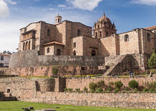 A clear, sunny day at Santo Domingo Church of Cusco, built around sacred Qorikancha, the most important Inca sun temple