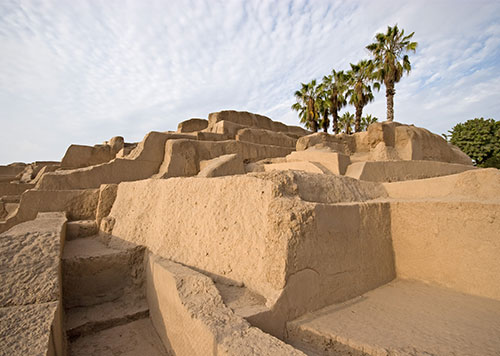 Huaca Pucllana ruins, a 4th-century adobe temple in the trendy Miraflores District of Lima on a mostly cloudy day