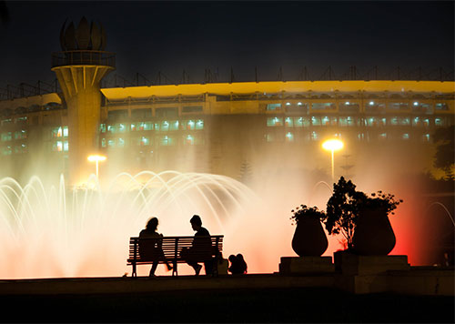 Fountains at Circuito Magico del Agua, or Magic Water Circuit, of Lima Illuminated at Night, a popular Lima tour option