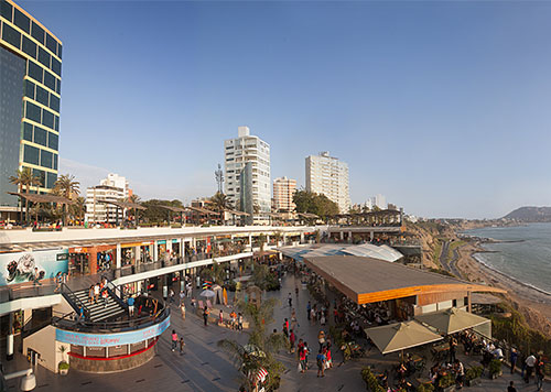 Larcomar, a popular outdoor mall overlooking the Pacific ocean in the Miraflores district of Lima, with dining and shopping