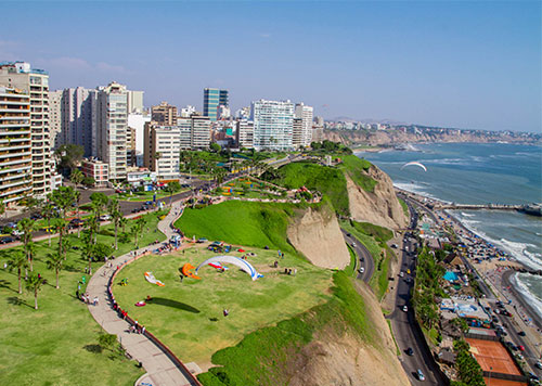 More than 2 miles of continuous parks on the Malecon overlooking the Pacific Ocean in Lima's trendy Miraflores district