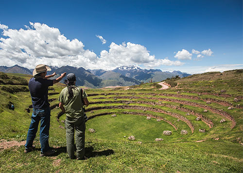 Moray ruins of Sacred Valley, an archaeological site consisting of circular terraces that were agricultural labs of the Inca