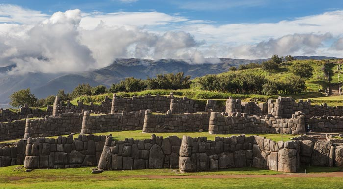Enormous stone walls at Sacsayhuamán, the ruins of an important Inca fortress in Cusco.