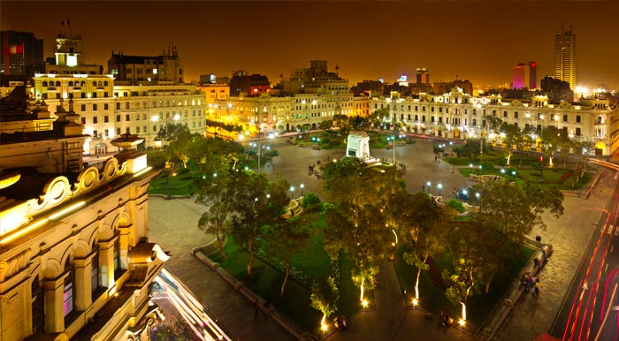 Plaza San Martin, one of the most important historic places in Lima, lit up at night.