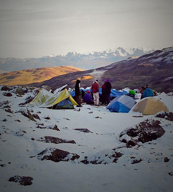 Snow-covered mountain along the Ausangate Trek