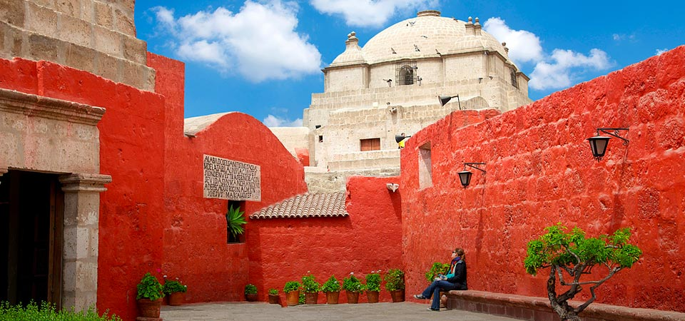 The bright red walls of Arequipa's Santa Catalina Monastery, dating to the 16th century.