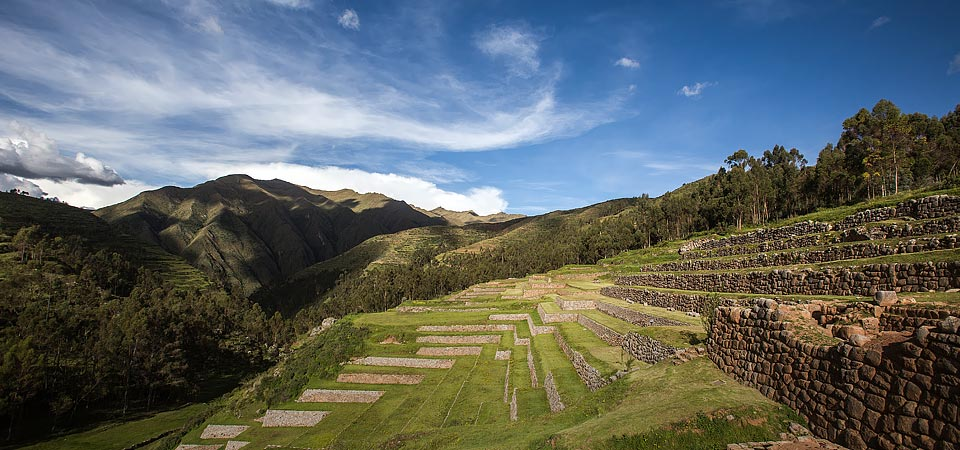 Agricultural terraces in Chinchero, an Inca archaeological complex in the Sacred Valley near Cusco.