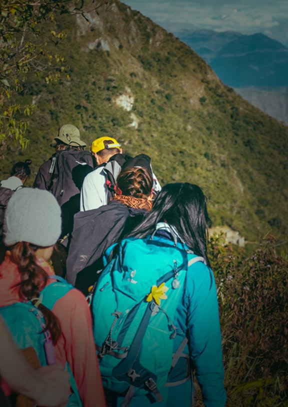 A group of trekkers led by their guide on the Inca Trail following a path near green mountains