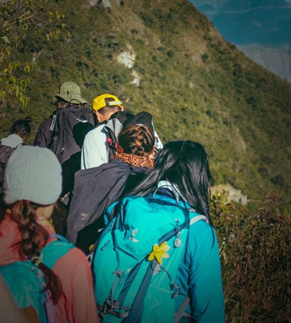 Group of trekkers walking along the Inca Trail to Machu Picchu