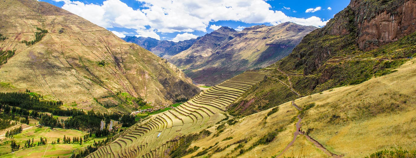 Agricultural terraces at Pisac, an archaeological site located in the Sacred Valley of the Incas.