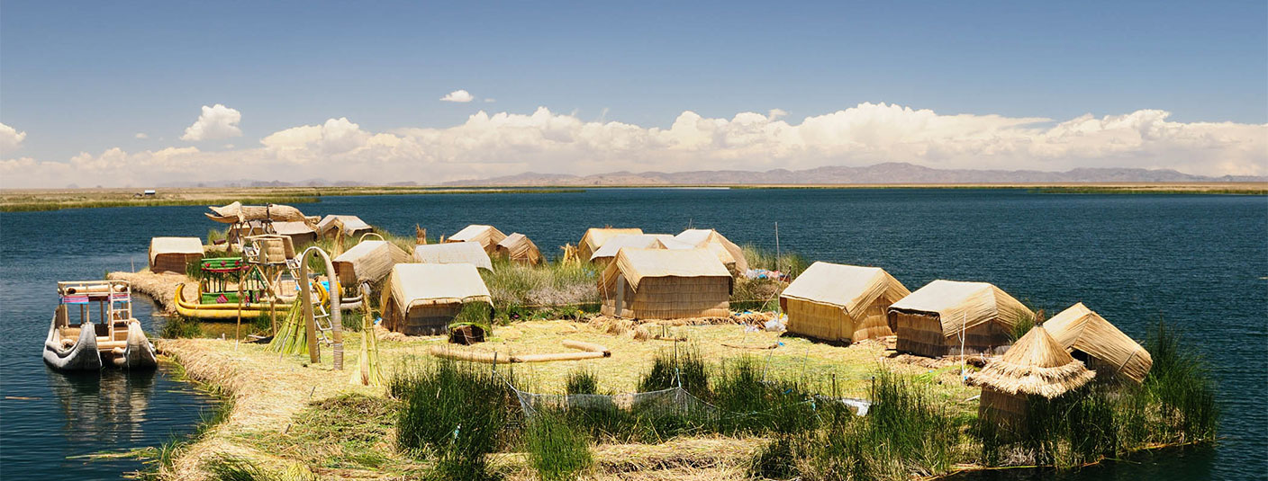 One of the Uros Islands, a group of manmade islands in Lake Titicaca made from totora reed.