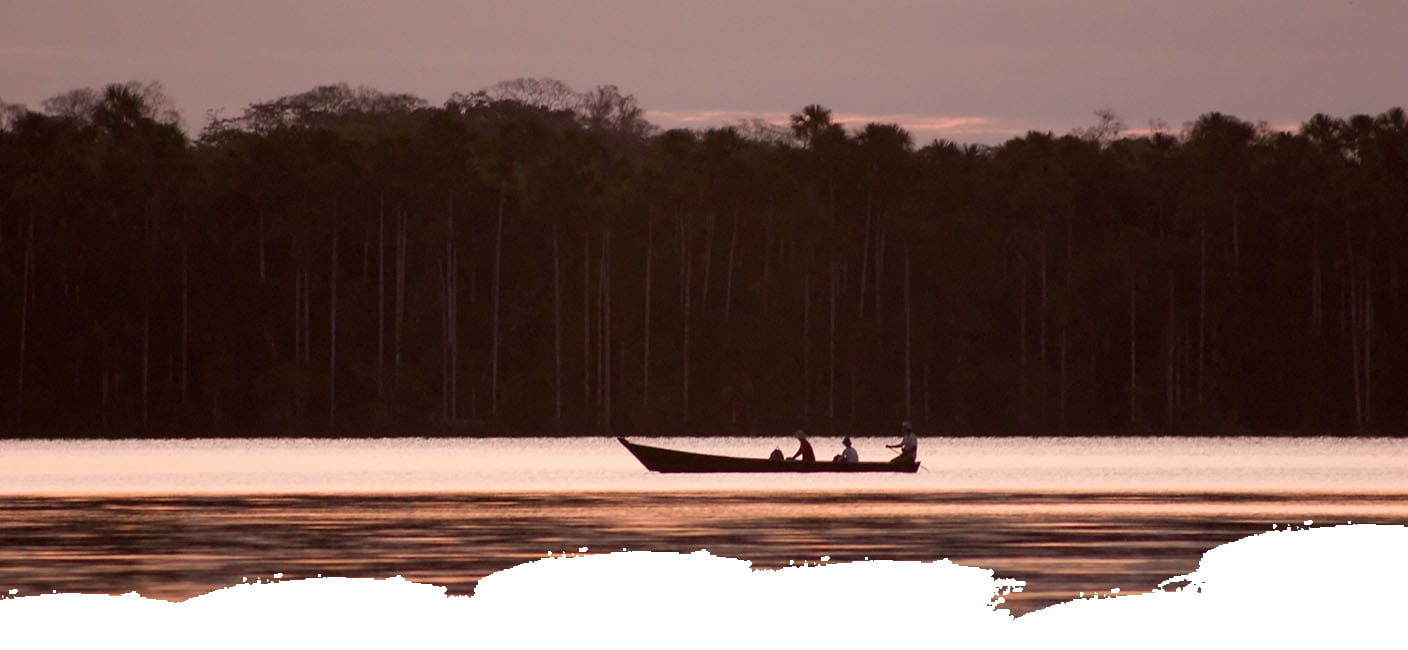 View of a boat on the Amazon of Peru