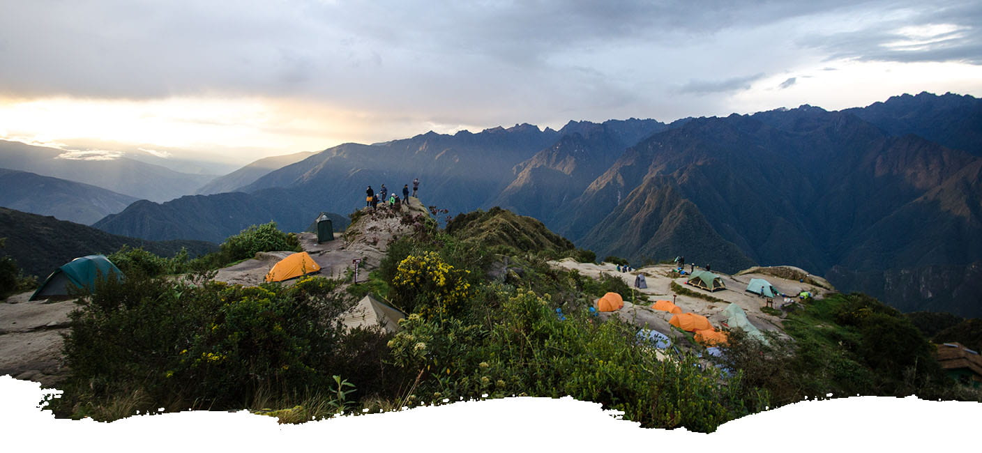 View of a campiste on the Inca Trail in the middle of the Andes