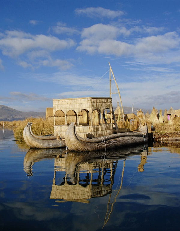 View of Uros Island on Lake Titicaca