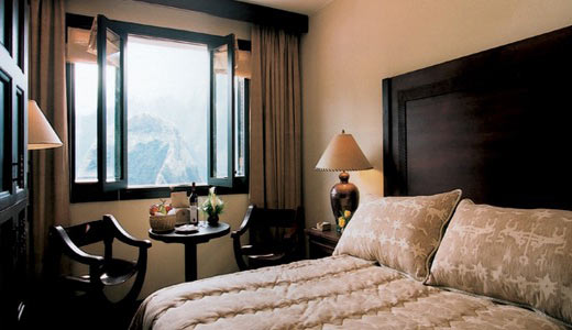 Single room with view of trees outside featuring a small gift basket and a bottle of wine | Sanctuary Lodge | Peru for Less