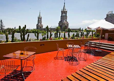 View of the Arequipa Basilica Cathedral from rooftop hotel terrace