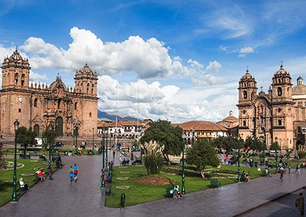 Sweeping view over Cusco City on a sunny day