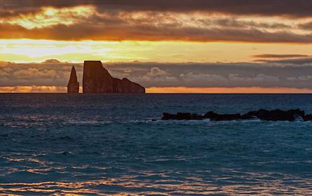 Kicker Rock at sunset near San Cristobal Island Galapagos