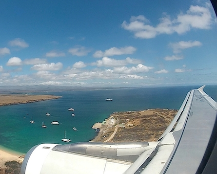 Looking down over Baltra Galapagos from airplane