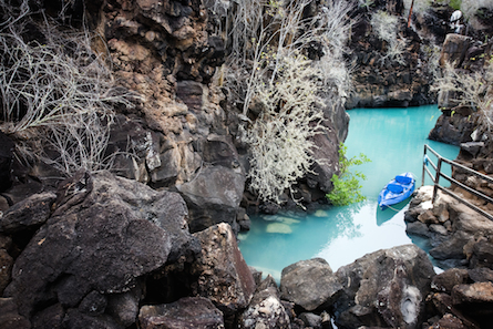 kayak in a blue lagoon in the Galapagos.