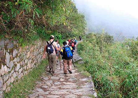 Inca Trail trekkers walking along a stone path