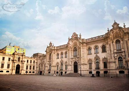 White Colonial Palace bordering the Plaza de Armas of Lima