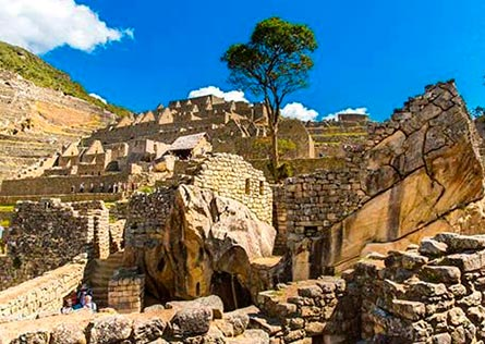 Elaborate Temple of the Sun carved into a large rock at Machu Picchu