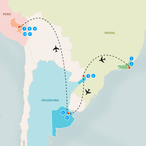 Map of the destinations and transportation for Peru Travel Special 8