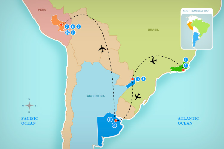 Map of the destinations and transportation for Buenos Aires & Machu Picchu Travel Special 8