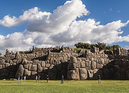 Rows of walls built from enormous stones at Sacsayhuaman