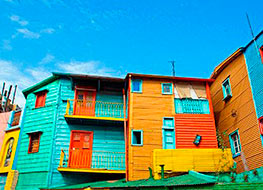 The colorful buildings in the La Boca district of Buenos Aires