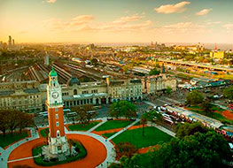 Aerial view over the Plaza de Armas of Buenos Aires in Argentina