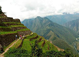 Breathtaking green mountain landscape walking the inca trail