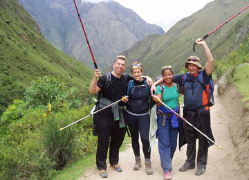 Travelers are all smiles on the Inca Trail trek