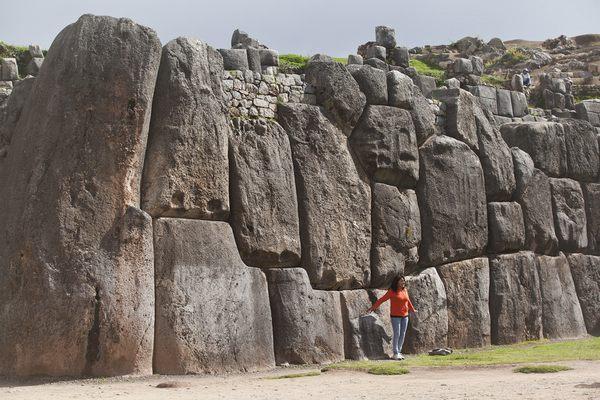 Close look at the stones of of Sacsayhuaman, Peru