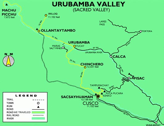 Cusco and Sacred Valley map