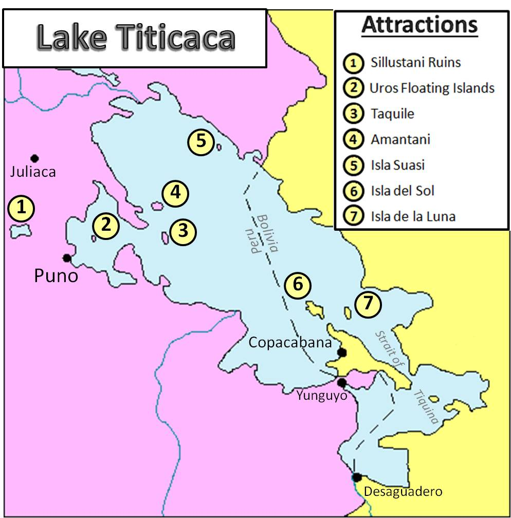 A map of the attractions and ruins in adn around Lake Titicaca, Peru