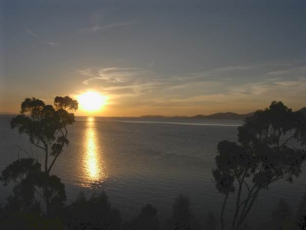 The view of the sunset from Isla Suasi, Lake Titicaca, Peru