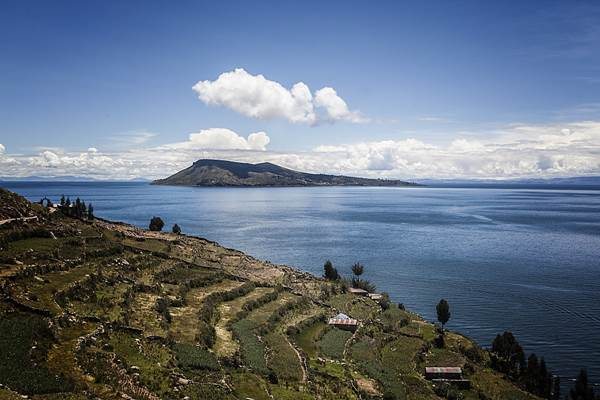 The view of Lake Titicaca from the terraced hillside of Taquile, Peru