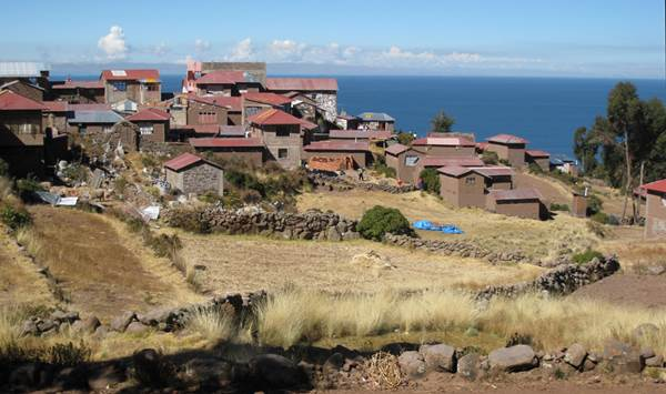 Haphazard layout of Taquile town, Lake Titicaca, Peru