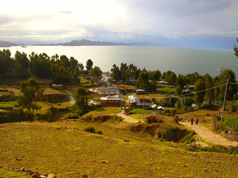 Placid day on Lake Titicaca seen from Amantani Island