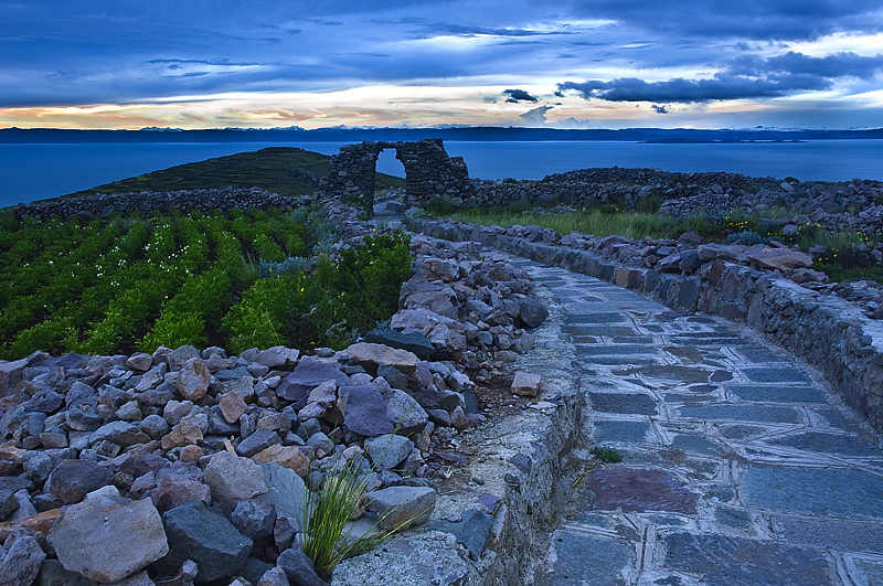 A view of the sunset from the Pachatata ruins of Amantani Island, Lake Titicaca, Peru