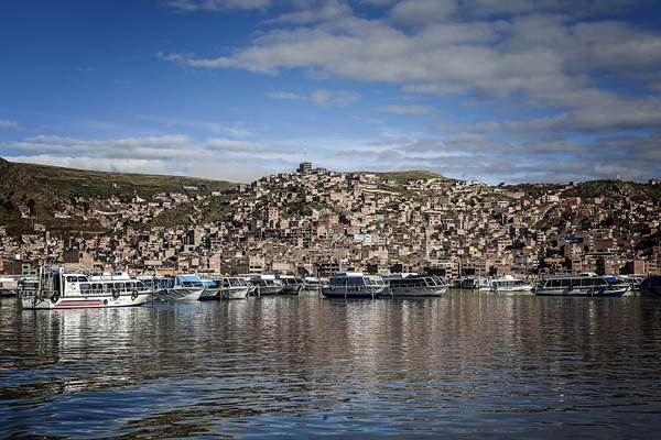 The view of Puno City's port on Lake Titicaca, Peru