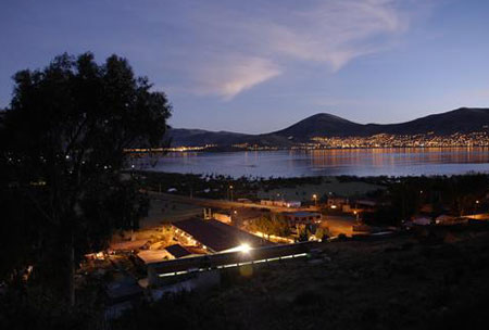 The view of the lake at night from the Eco Inn in Puno, Peru
