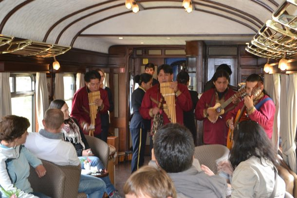 Musicians play on the train