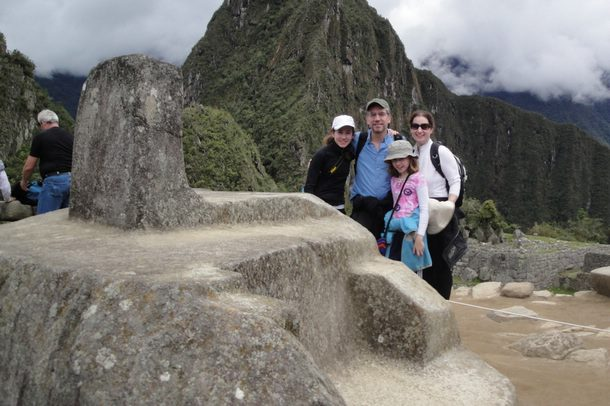 The Miller family pose at the Macchu Picchu ruins